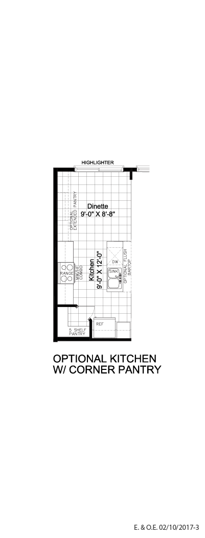 Optional kitchen w/ corner pantry