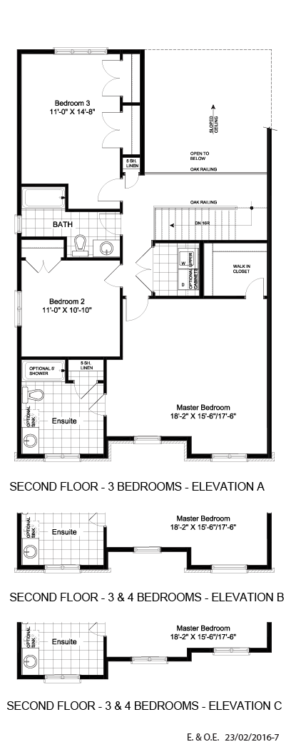 Second floor - 3 & 4 BD