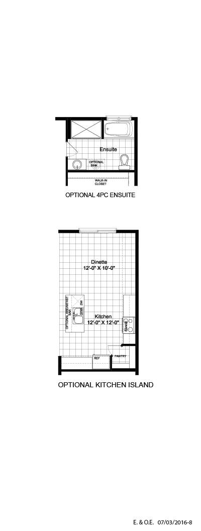 Optional 4 PC ensuite & kitchen island
