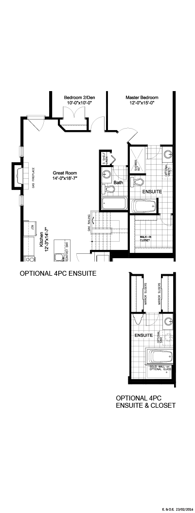 Optional 4PC ensuite and/or island