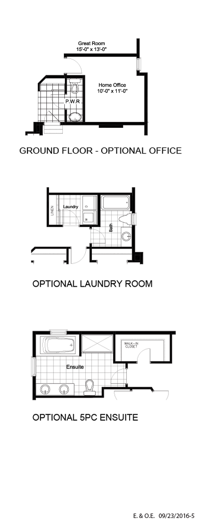 Optional office, laundry, ensuite