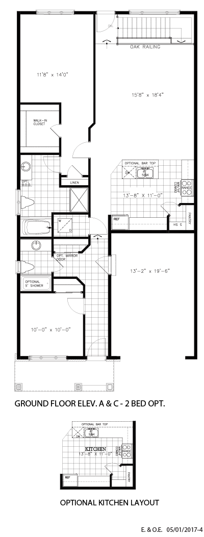 Ground floor 2BD and optional kitchen layout